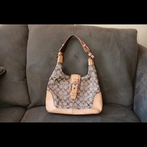 COACH Buckle Handbag Brown Shoulder Bag !